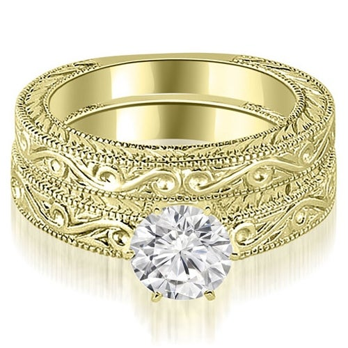 1.00 cttw. 14K Yellow Gold Antique Round Cut Diamond Bridal Set