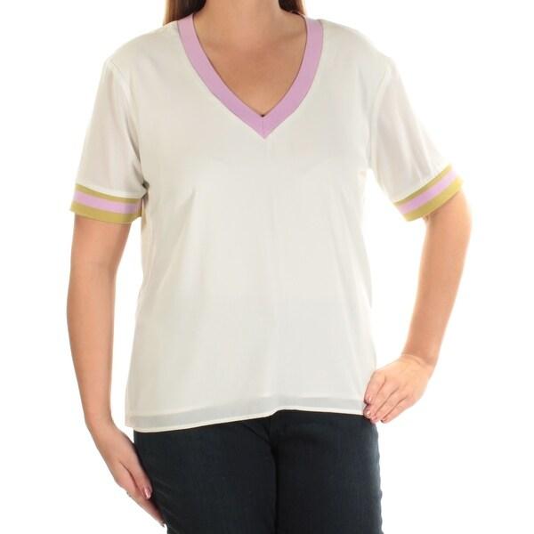 CYNTHIA ROWLEY Ivory Short Sleeve V Neck Top Size: XL