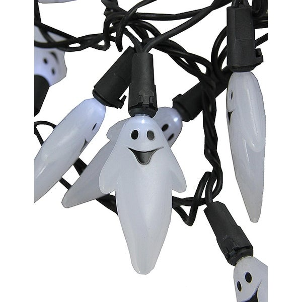 Set of 20 Pure White LED Ghost Halloween Lights - Black Wire
