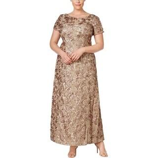 Alex Evenings Womens Plus Formal Dress Sequined Rosette