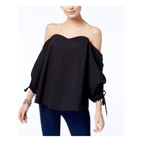 INC Womens Black Long Sleeve Sweetheart Neckline Top Size M