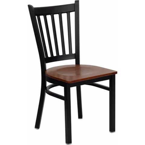 Offex HERCULES Series Black Vertical Back Metal Restaurant Chair - Cherry Wood Seat [OF-XU-DG-6Q2B-VRT-CHYW-GG]