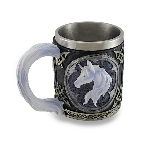 White Unicorn Drinking Tankard Tribal Coffee Cup Mug - 4.25 X 3.5 X 3.5 inches