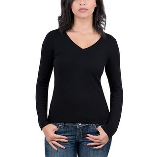 Real Cashmere Black V-Neck Womens Sweater