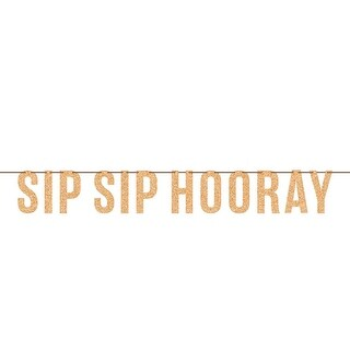 """Club Pack of 6 Brown Decorative Sip Sip Hooray Themed Letter Banners 8.25"""""""