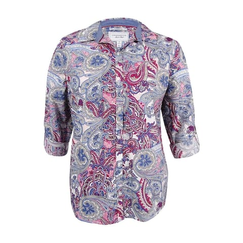 Charter Club Women's Plus Size Paisley-Print Shirt (16W, Whipped Berry Combo) - Whipped Berry Combo - 16W