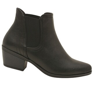 Adult Black Side Elasticated Insert Casual Trendy Ankle Boots