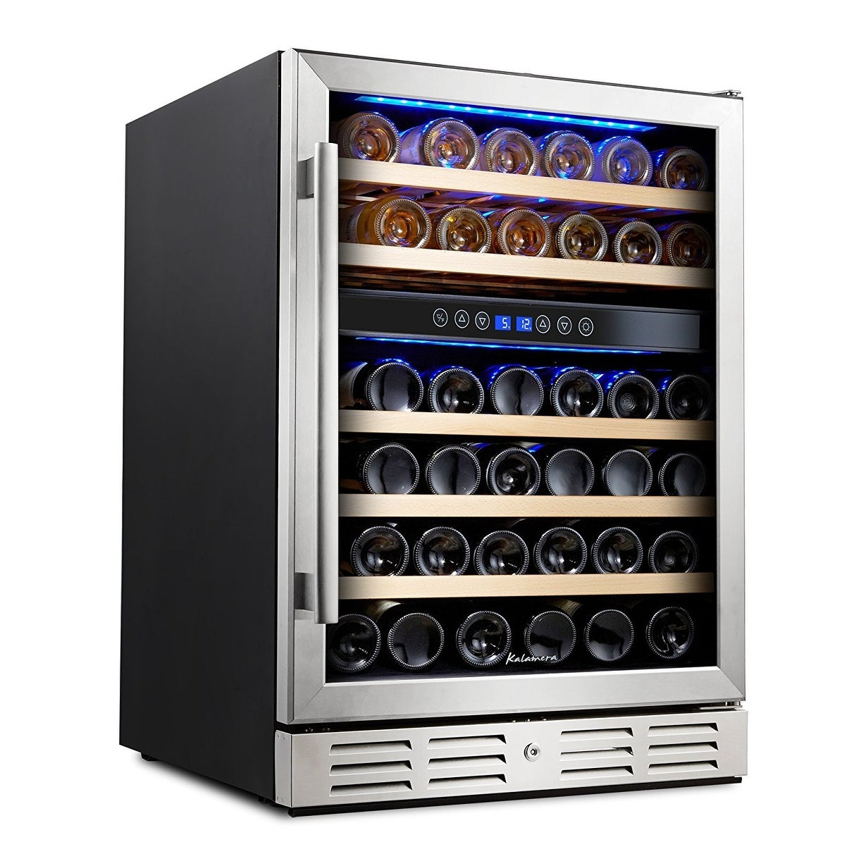 Kalamera 24'' 46-bottle Wine Cooler Refrigerator Built-in Dual Zone, Stainless Steel Door & Handle - Thumbnail 0