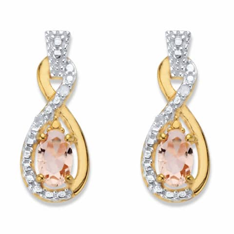Gold over Silver Morganite and Diamond Accent Infinity Earrings