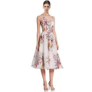 Teri Jon Floral Print Embellished Illusion Cocktail Dress - 2
