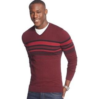 Alfani Black Label Regular Fit Striped V-Neck Sweater Raisin Torte Combo Large L