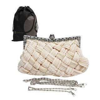Woven Fabric Clutch Purse with Gem Clasp and Metal Shoulder Chain, Bonus Reuseable Drawstring Bag - Dark Pink