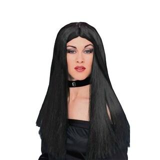 Long Black Adult Costume Wig