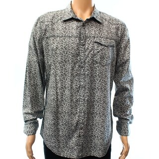 CALVIN KLEIN JEANS NEW Gray Mens Size Large L Printed Button Down Shirt