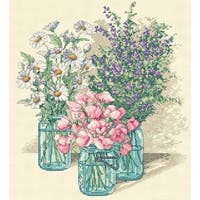 "Wildflower Trio Counted Cross Stitch Kit-11""X12"" 14 Count"