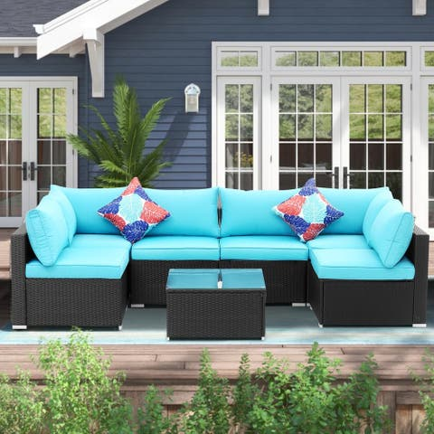 Zenova 7-Pieces Patio Rattan Wicker Sectional Sofa Sets With Pillows And Cushions
