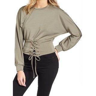 Bardot NEW Sage Green Womens Size 6/S Mila Lace-UP Stretch Blouse