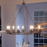 """Luxury Industrial Chic Chandelier, 34.5""""H x 36""""W, with Vintage Style, Brushed Nickel Finish by Urban Ambiance"""