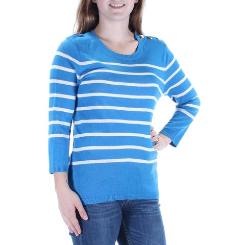 KENSIE Womens Blue Striped 3/4 Sleeve Jewel Neck Sweater Size: L