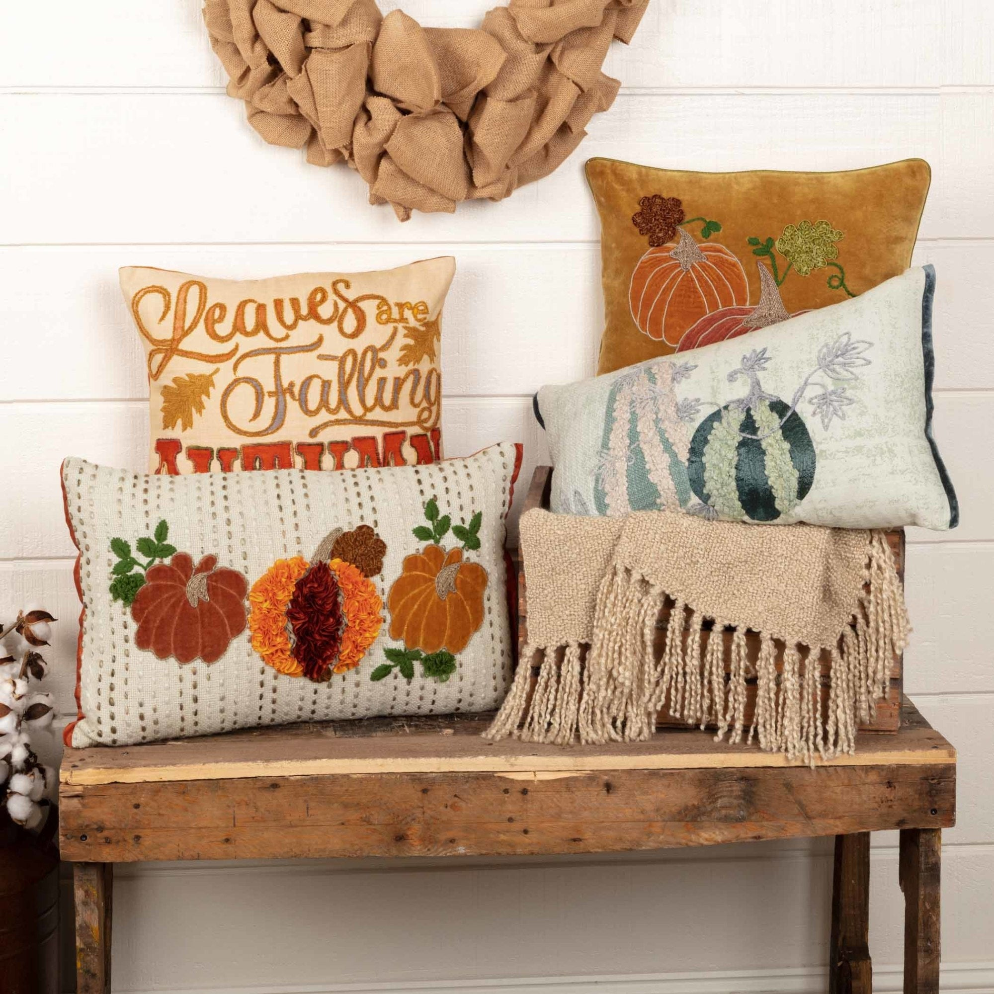 Home Decor Insert Vhc Brands Decorative Throw Pillow Couch Autumn Calling 18x18 Cover Home Furniture Diy Tohoku Morinagamilk Co Jp