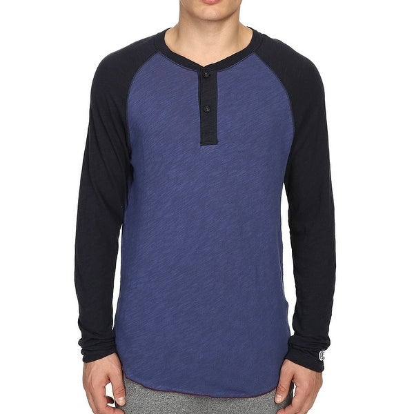 57915407 Shop Champion NEW Blue Mens Size Large L Colorblock Baseball Henley Shirt -  Free Shipping On Orders Over $45 - Overstock - 18368714