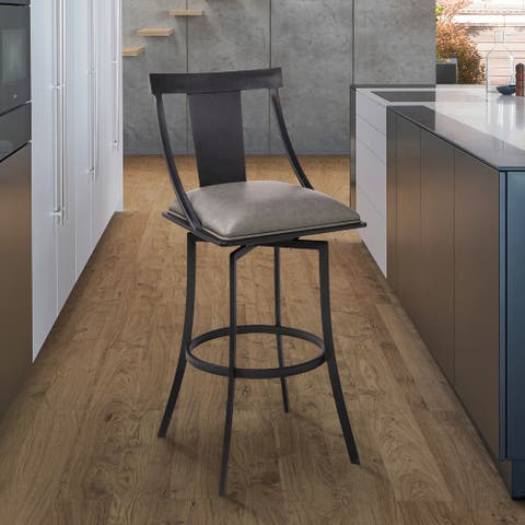 """Armen Living Brisbane Contemporary 26"""" Counter Height Barstool in Matte Black Finish and Vintage Grey Faux Leather"""