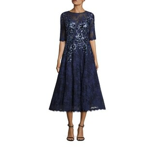 Teri Jon Sequin Floral Embroidered Lace Cocktail Evening Dress