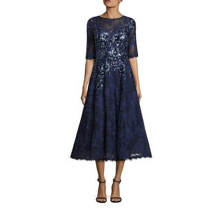 Teri Jon Sequin Floral Embroidered Lace Cocktail Evening Dress Navy