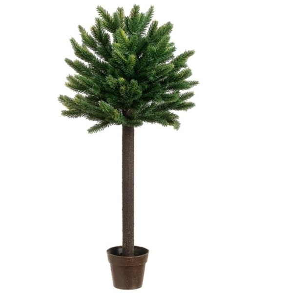 """27"""" Potted Short Needle Balsam Pine Artificial Christmas Topiary Tree - Unlit - green"""