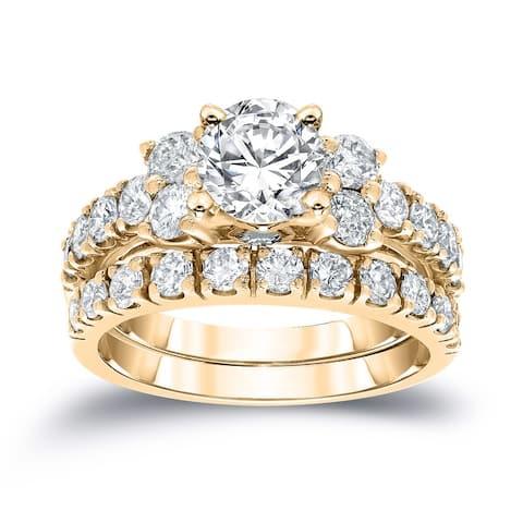 Auriya Classic 1 1/2ctw Round Diamond Engagement Ring Set 14k Gold