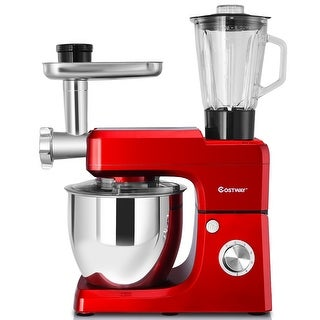 Costway 3 In 1 Upgraded Stand Mixer with 7QT Stainless Steel Bowl Meat Grinder Blender - Red