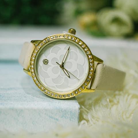 Magnicor Watch Company Quartz Movement White Color 40 Mm Dial Genuine Black, Red, Blue, Beige Leather Strap Wrist Watch