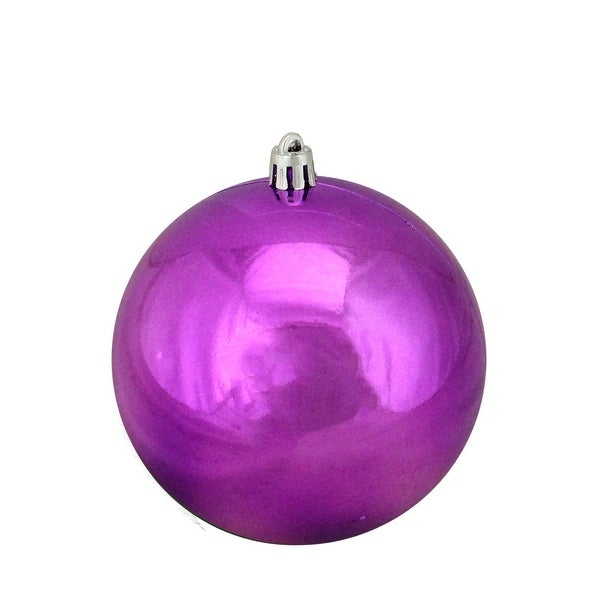 "Purple Shatterproof Shiny Christmas Ball Ornament 4"" (100mm)"