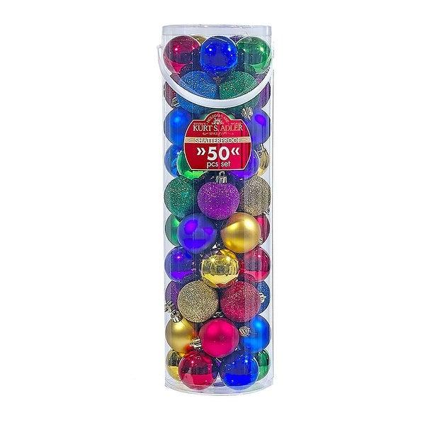 50 pc Multicolor Shatterproof Christmas Ornament Ball Set