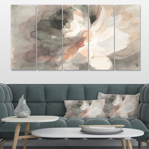 Designart 'Abstract Peony Grey' Pink Modern Gallery-wrapped Canvas