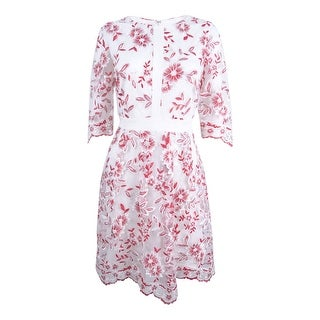 Jax Women's Floral Embroidered Mesh A-line Dress - Ivory/Red
