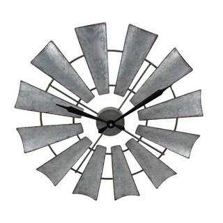 Rustic Distressed Metal Windmill Wall Clock 22 Inch - 22 X 22 X 1 inches