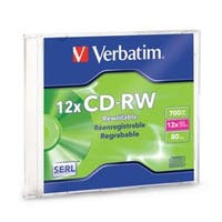 Verbatim CD-RW, 95161, 700MB, 4X-12X High Speed, Branded, 1PK Slim Case, TAA