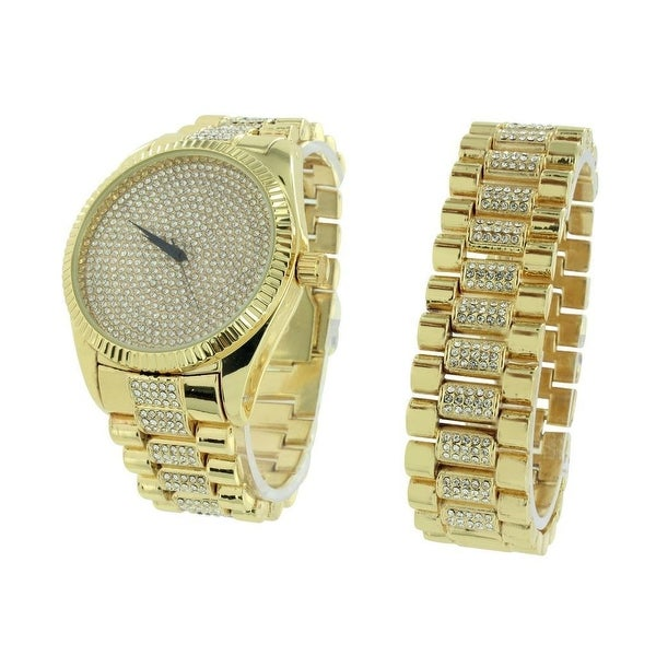Mens Gold Watch & Bracelet Set Lab Diamonds Iced Out Set Analog Display Stainless Steel Back