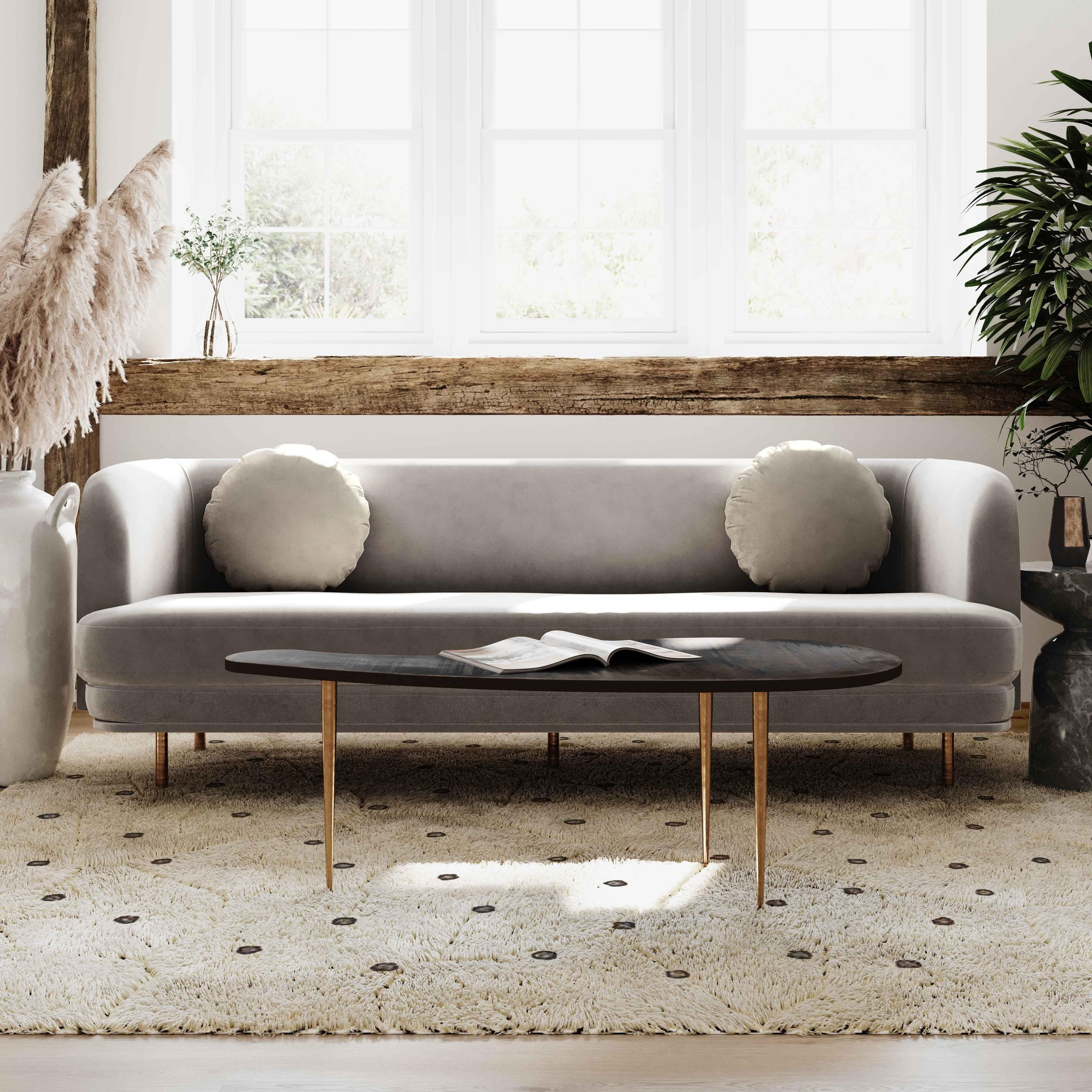 Sariah Alabaster Velvet Sofa
