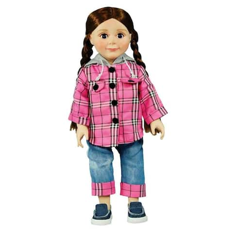 Flannel Hoodie Shirt,Capri Jeans, Doll Clothes Outfit For 18 Inch American Girl Dolls
