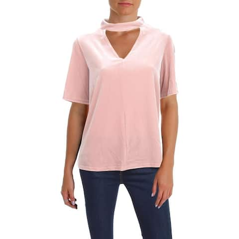 Aqua Womens Casual Top Cut-Out Choker