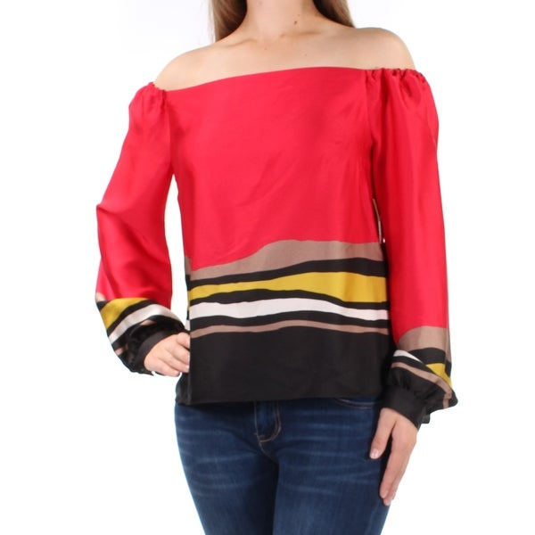 243d3459302783 Shop RACHEL ROY  89 Womens New 1273 Red Printed Long Sleeve Off Shoulder Top  0 B+B - Free Shipping On Orders Over  45 - Overstock.com - 22429663