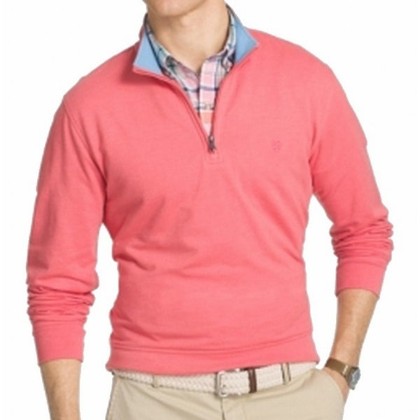 b804f3539b1 Shop izod saltwater new pink nauset mens size zip pullover sweater free  shipping on orders over