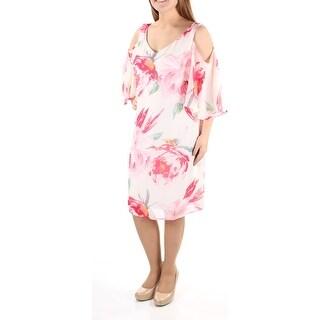 CONNECTED $79 Womens 1080 White V Neck Short Sleeve Shift Wedding Dress 10 B+B