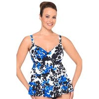 Shape Solutions Blue Carmen Triple Tier One Piece Swimsuit