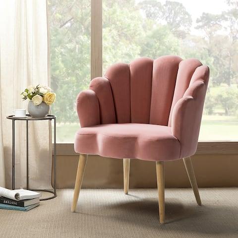 Carson Carrington Ullnasnoret Upholstered Scalloped Velvet Arm Chair