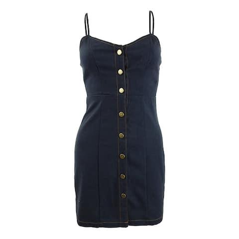 Sequin Hearts Juniors' Button-Front Denim Dress (XXS, Navy)