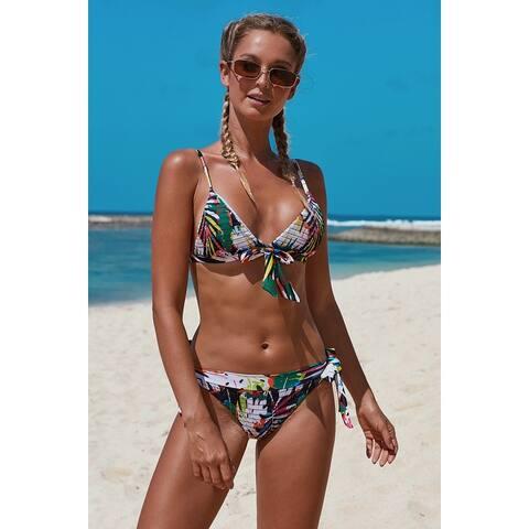 Cali Chic Women's Two Piece Swimsuit Celebrity Bohemian Print Knot Bikini Swimwear