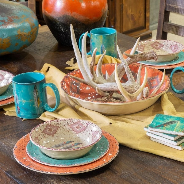 HiEnd Accents Melamine Feather 14 Piece Set. Opens flyout.
